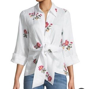 Neiman Marcus Embroidered Tie Front Blouse- Size S